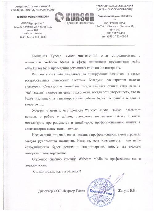 Директор  ООО «Курсор-Голд»